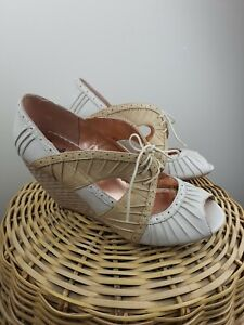 Seychelles Size 10 Special Edition Leather Espadrille Wedge Heels Tie Open Toe
