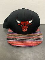 Mitchell & Ness Chicago Bulls Snapback NBA Adjustable Hat Black Red Logo