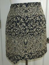 H&M Assymetrical Faux Wrap SKIRT - Size 8 - Blue Tan Brocade Zip Lined A-Line
