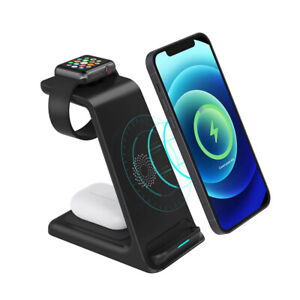 3 in 1 15W Qi Wireless Charger Dock Charging Station For Apple iWatch iPhone 12