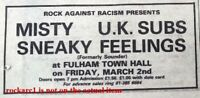 UK SUBS UK TIMELINE Advert - Fulham Town Hall Fri-2-Mar-1979 2x3 inches