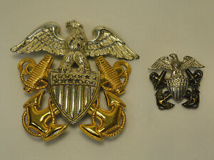 Vintage Sterling Silver Navy Military Insignia Eagle Hat Badge & Lapel Pin A1-17