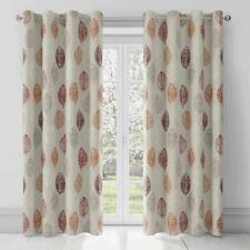 "Skandi Leaf Lined Curtains Fusion Eyelet Red Terracotta Cream 42"" x 72"" (1261)"