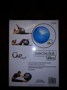 New NIB Cap Fitness Exercise Ball 65cm with Foot Pump