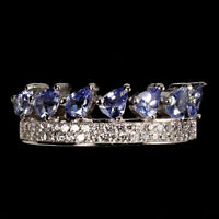 Unheated Pear Blue Tanzanite White Cz White Gold Plate 925 Sterling Silver Ring