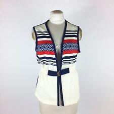 Vintage 1960s Vest Red White & Blue Striped Patriotic 4th Of July Hippy