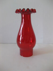 "RUBY RED glass frill top chimney oil/electric lamps 6,5 cm /2 5/8"" base diameter"
