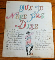 1906 military soldier manuscript lyrics THAT I DARE NOT SAY sexy drawing