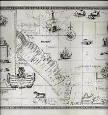 Old World Map-Brown on Beige WALLPAPER BORDER