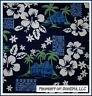 BonEful Fabric FQ Cotton Quilt Tropical Palm Tree Green White Hibiscus Flower US