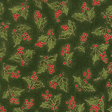 Magnolia Metallics Boughs Of Holly Evergreen 33243 13M Moda Quilting Cotton