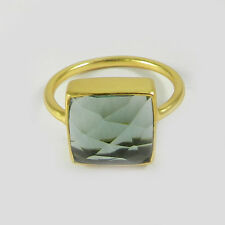 Green Amethyst Hydro 925 SILVER GOLD PLATED RING JEWELRY SIZE 7 RG018