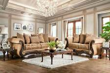 NEW Traditional Living Room Wood Trim & Tan Fabric Sofa Couch Loveseat Set IRCZ