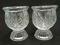 """MATCHING PAIR OF CLEAR GLASS CRYSTAL VOTIVE CANDLE HOLDERS 3.75"""" X 3"""" HOME DECOR"""