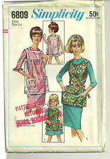 Vintage Apron Pattern Simplicity 6809 Child Size 2-4 Partially Cut & Complete