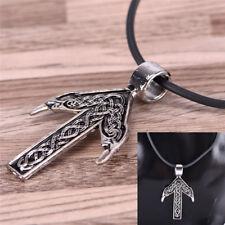 Unisex Amulet Necklace Norse Viking Cross Nordic Pendant Leather Chain