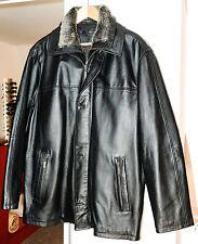 wetterfeste ECHT LEDERJACKE schwarz Herren Gr 50 Fellbesatz Leather jacket black
