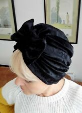 TURBAN BLACK VELVET VINTAGE LOOK 1940s 50s SWING HAT HEAD SCARF HAIR bow pin up