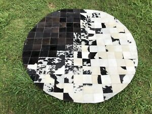 Real Cowhide Area Rug Patchwork Black White Geometric Cow Hide Skin Print Rug