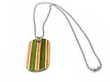 RECYCLED SKATEBOARD Wooden Dog Tag Necklace Personalised Engraved Custom Pendant