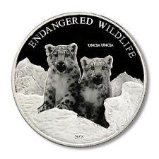 Mongolia Snow Leopard Cubs 500 Tugrik Terper 2008 Proof Silver Crown Photoengrav