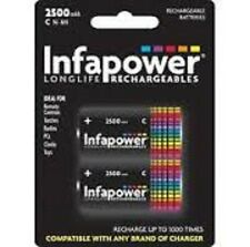 2X INFAPOWER C Size 2500mAh Ni-Mh Rechargeable Batteries, (B005)