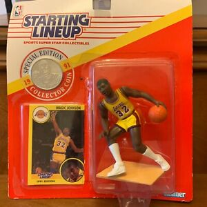1991 Staring Lineup - Magic Johnson Special Edition, card and coin, sealed