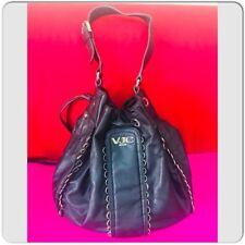 1d0f93866823 VERSACE VJC Black Leather Drawstring Bucket Style Shoulder Bag