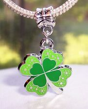 Large Green 4 Four Leaf Clover Enamel Dangle Bead fits European Charm Bracelets