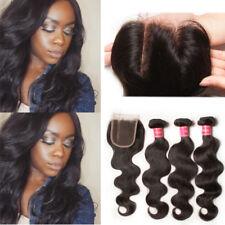 Nadula 7A Brazilian Body Wave Human Hair Closure with 3 bundle Virgin Hair Weave