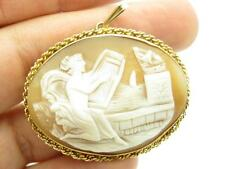 14k Yellow Gold Hand Made Cameo Lady Harp Design Vintage Estate Necklace