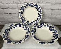 Harry & David Barbara Eigen Bowls Blueberry Leaves White Portugal Set Of 3