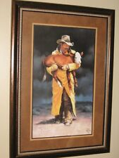 Rare Vintage Home Interior Cowboy in Yellow Jacket Western Calf Picture