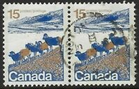 Scott 595vi, 15c Mountain Sheep, pair on HB (front only) paper, Cat. $30, VF