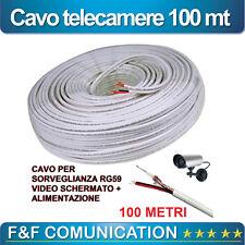 CAVO CAVI TELECAMERE AHD SCHERMATO RG59 CON ALIMENTAZIONE BOBINA 100 MT