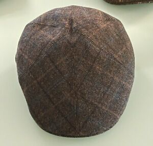 Bates Hatters of London - Fawn Multi Check Wool & Cashmere Roma Cap 60CM