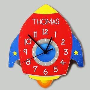 Personalised Rocket Wooden Name Clock - Baby Boys Birthday Christening Gift
