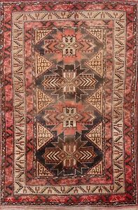 Vintage Tribal Anatolian Geometric Turkish Oriental Area Rug Handmade Wool 4x7