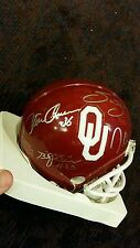 Oklahoma Sooners Heisman 4 winners signed mini helmet Bradford White Owens Sims
