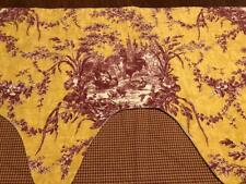 Lovely French Country Toile Waverly Window Valance Mustard w/Burgandy Roosters