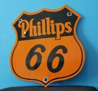 VINTAGE PHILLIPS 66 GASOLINE PORCELAIN GAS MOTOR OIL SERVICE STATION SHELF SIGN