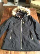 * ANDREW MARC * Women's Black Quilted Lined Faux Fur Hooded Coat Jacket Medium