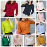 Women Girl Long Sleeve V-neck Loose Tops T Shirt OL Ladies Plain Casual Blouse