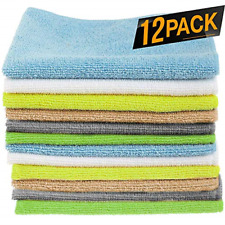 12 Pack Microfiber Cloths Cleaning Supplies Kitchen Towel Clean Windows & Cars