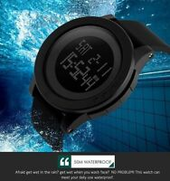 Waterproof Black Mens Sport Wrist Watch Rubber Band Digital Army Military Quartz