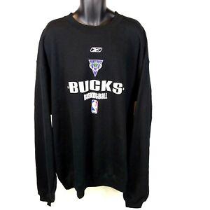 New Reebok Men's 3XL Tall Black Milwaukee Bucks Crewneck Sweatshirt 3XLT