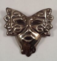 Huge Vintage Mexico Sterling Silver Clown Face Pin Brooch