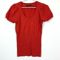 Events Womens Red Short Sleeve Knit Blouse Size M