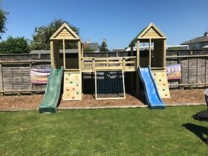 Heavy Duty Children's Climbing Frame 2 Tower Premier *NO Self Assembly required*