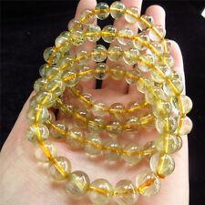 8-9mm Natural Gold Hair Rutile Quartz Stretch Bracelet Round Beads Rutilated YS1